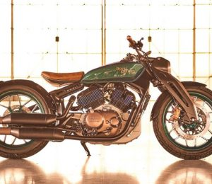 The Royal Enfield concept motorcycle looks muscular, retro and futuristic