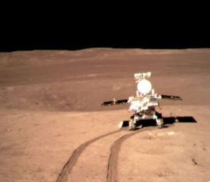 Chinese moon Rover sleep after moving in the midst of the moon