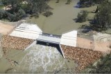 Water flows into large concrete water, called Chowilla regulator.